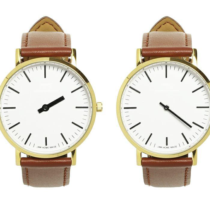 ジャムウォッチ TYPE-3 PAIR ゴールド/ホワイト -レザーベルト(ブラウン)- / 腕時計・ペアウォッチ