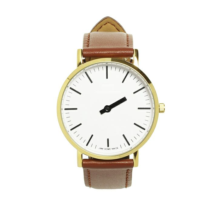 腕時計 / ジャムウォッチ TYPE-3 PAIR ゴールド/ホワイト -レザーベルト(ブラウン)-・ペアウォッチ メンズ レディース ユニセックス 生活防水 シンプル ミニマム DW ダニエルウェリントン プレゼント ブランド シェフィールド ヨーク ぺティート ダラム お揃い