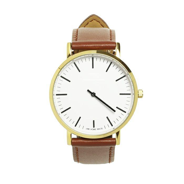 ジャムウォッチ TYPE-3 PAIR ゴールド/ホワイト -レザーベルト(ブラウン)- / 時計・腕時計 / ペアウォッチ・時計