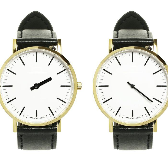 腕時計 / ジャムウォッチ TYPE-3 PAIR ゴールド/ホワイト -レザーベルト(ブラック)-・ペアウォッチ メンズ レディース ユニセックス 生活防水 シンプル ミニマム DW ダニエルウェリントン プレゼント ブランド シェフィールド ヨーク ぺティート ダラム お揃い