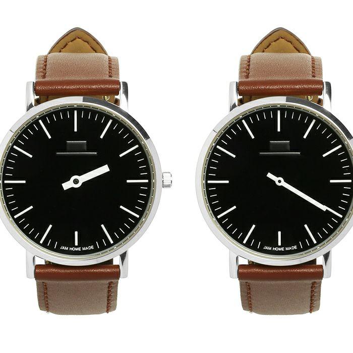 ジャムウォッチ TYPE-3 PAIR シルバー/ブラック -レザーベルト(ブラウン)- / 腕時計・ペアウォッチ