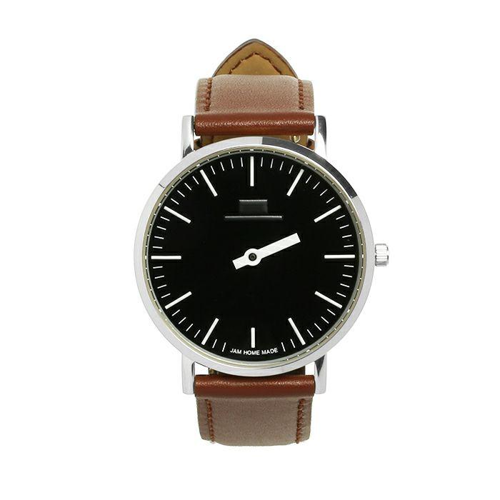 ジャムウォッチ TYPE-3 PAIR シルバー/ブラック -レザーベルト(ブラウン)- / 時計・腕時計 / ペアウォッチ・時計