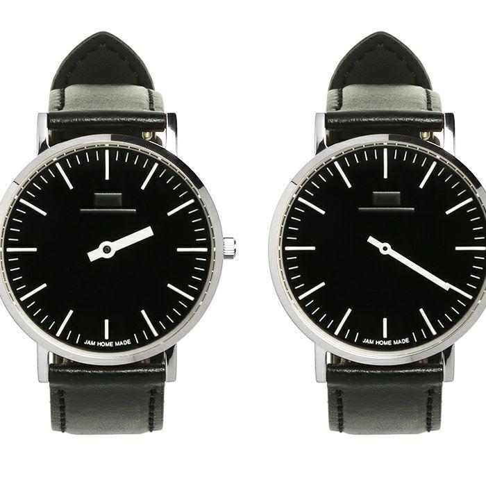 ジャムウォッチ TYPE-3 PAIR シルバー/ブラック -レザーベルト(ブラック)- / 腕時計・ペアウォッチ