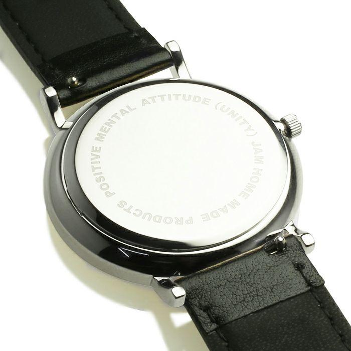 【ジャムホームメイド(JAMHOMEMADE)】ジャムウォッチ TYPE-3 PAIR シルバー/ブラック -レザーベルト(ブラック)- / 腕時計・ペアウォッチ
