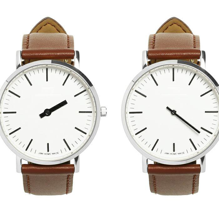 ジャムウォッチ TYPE-3 PAIR シルバー/ホワイト -レザーベルト(ブラウン)- / 腕時計・ペアウォッチ