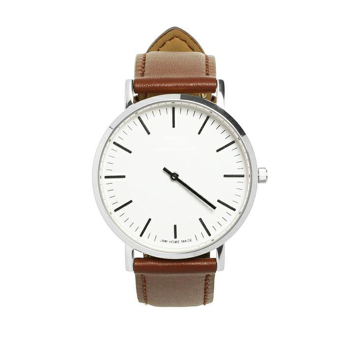 ジャムウォッチ TYPE-3 PAIR シルバー/ホワイト -レザーベルト(ブラウン)- / 時計・腕時計 / ペアウォッチ・時計