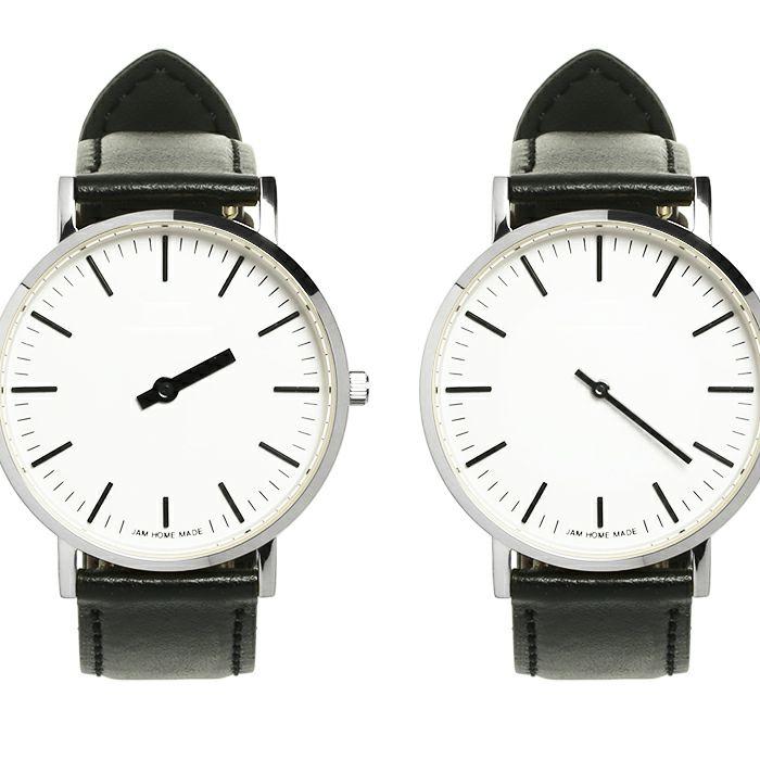 ジャムウォッチ TYPE-3 PAIR シルバー/ホワイト -レザーベルト(ブラック)- / 腕時計・ペアウォッチ