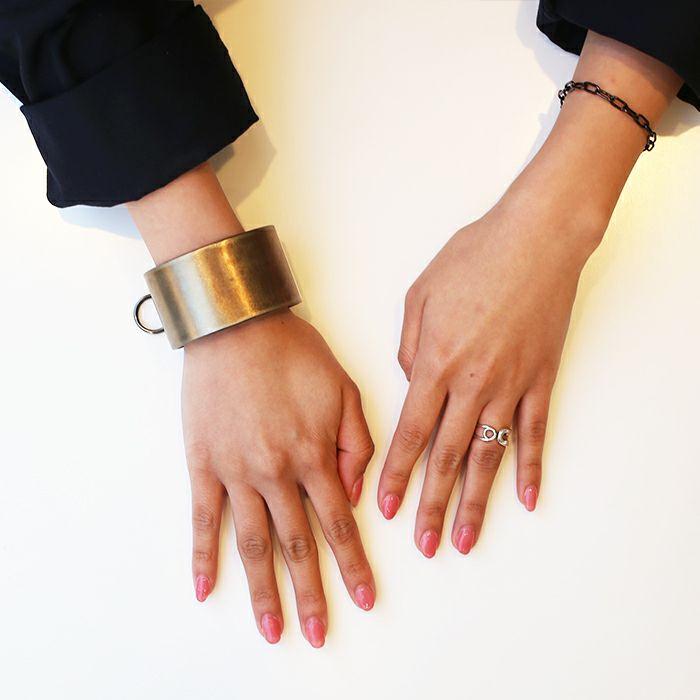 ブレスレット / EXIT メタルバングル L(40mm) - ファイヤーゴールド - メンズ レディース ユニセックス 人気 ブランド おすすめ ペア プレゼント ごつめ シルバー ゴールド ブラック