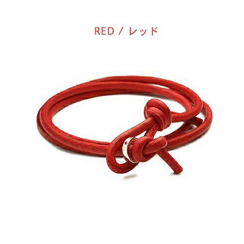 【ジャムホームメイド(JAMHOMEMADE)】1月 誕生石 ディア レザー ブレスレット 3巻 - ガーネット / レディース