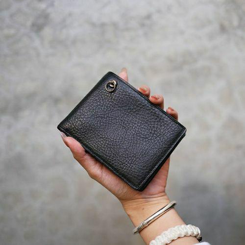 5月誕生石 アリゾナレザー 二つ折り財布 - ブラック / ミディアムウォレット /  5月誕生石 アリゾナレザー 二つ折り財布 - ブラック / ミディアムウォレット