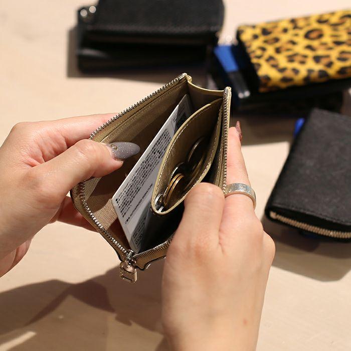 L字ファスナー ミニ財布 SOモデルウォレット - ブルー × ヌメ バイカラー / レディース /財布・革財布