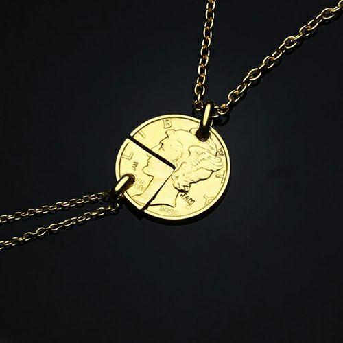 【ジャムホームメイド(JAMHOMEMADE)】コイン ペアネックレス ヴィンテージ マーキュリーコイン - ゴールド