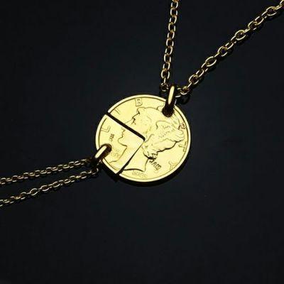 コイン ペアネックレス ヴィンテージ マーキュリーコイン - ゴールド