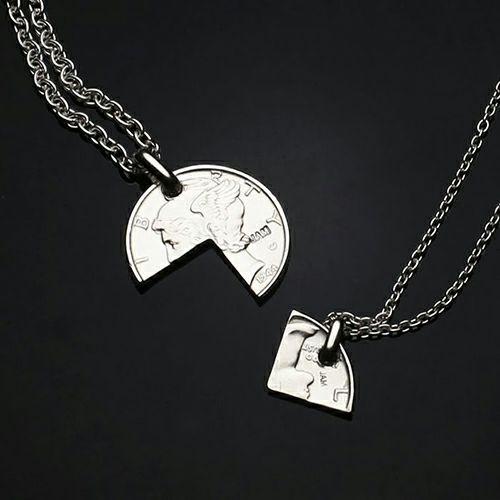 【ジャムホームメイド(JAMHOMEMADE)】コイン ペアネックレス ヴィンテージ マーキュリーコイン - ロジウム
