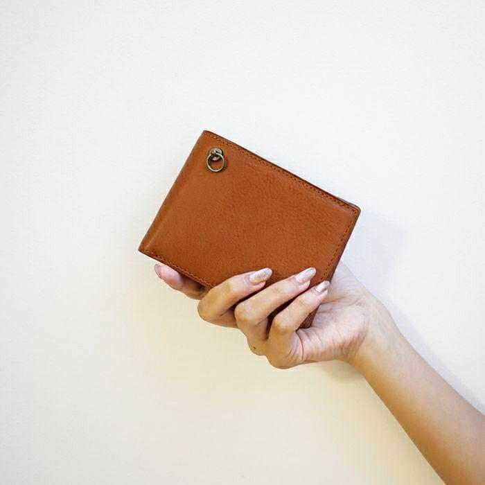 アリゾナレザー 二つ折り財布 - ブラウン / ミディアムウォレット / レディース / 財布・革財布