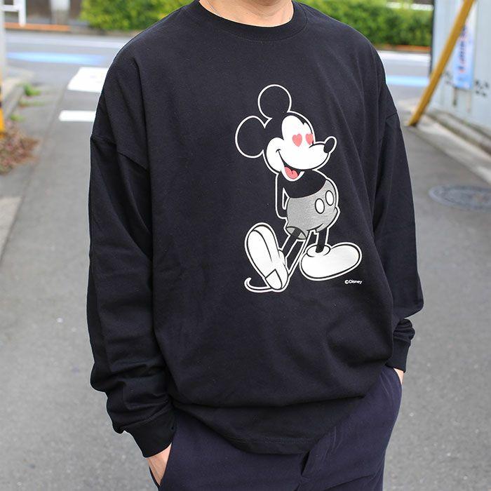 ミッキー ロングスリーブ Tシャツ ブラック × モノクロ / 洋服小物