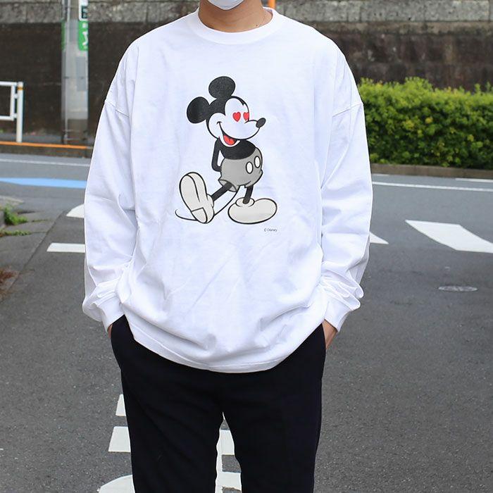 ミッキー ロングスリーブ Tシャツ ホワイト× モノクロ / 洋服小物