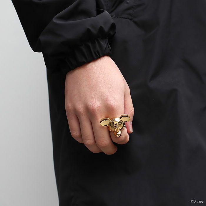 ミッキー マウス フェイス リング - ゴールド  M / 指輪・リング