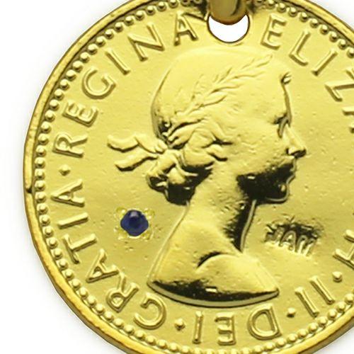 【ジャムホームメイド(JAMHOMEMADE)】9月 誕生石 コイン ネックレス ヴィンテージ シックスペンスコイン - ゴールド