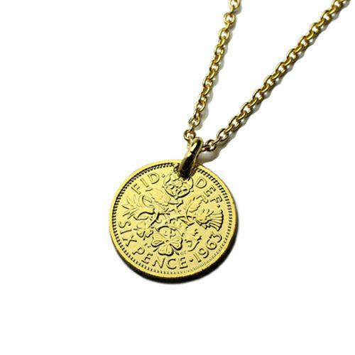 【ジャムホームメイド(JAMHOMEMADE)】4月 誕生石 コイン ネックレス ヴィンテージ シックスペンスコイン - ゴールド