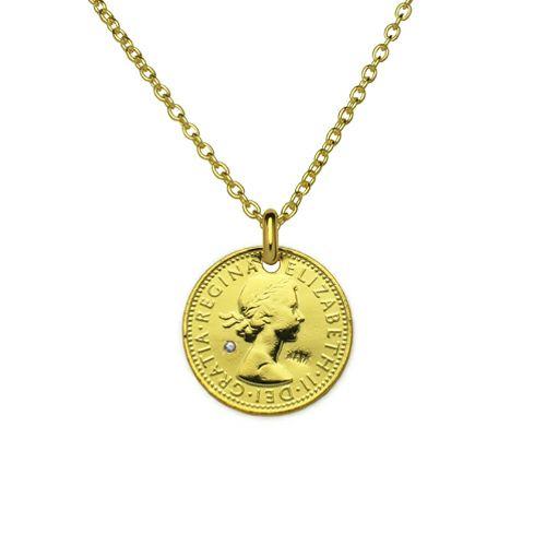 【ジャムホームメイド(JAMHOMEMADE)】3月 誕生石 コイン ネックレス ヴィンテージ シックスペンスコイン - ゴールド