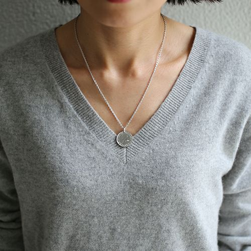 【ジャムホームメイド(JAMHOMEMADE)】10月 誕生石 コイン ネックレス ヴィンテージ シックスペンスコイン - ロジウム