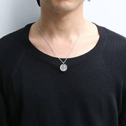 【ジャムホームメイド(JAMHOMEMADE)】8月 誕生石 コイン ネックレス ヴィンテージ シックスペンスコイン - ロジウム