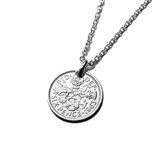 【ジャムホームメイド(JAMHOMEMADE)】2月 誕生石 コイン ネックレス ヴィンテージ シックスペンスコイン - ロジウム