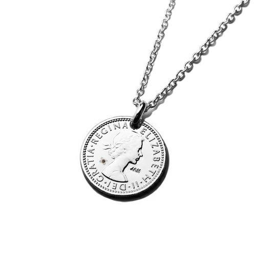 【ジャムホームメイド(JAMHOMEMADE)】1月 誕生石 コイン ネックレス ヴィンテージ シックスペンスコイン - ロジウム